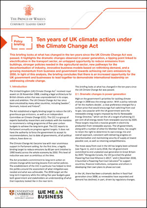 Briefing Ten years of UK climate action