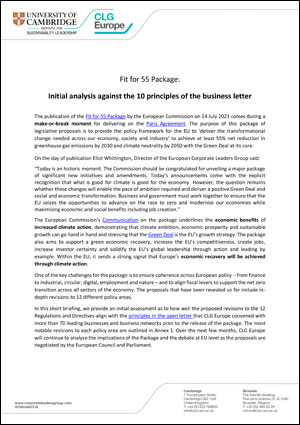 Fit for 55 Package: Initial analysis against the 10 principles of the business letter