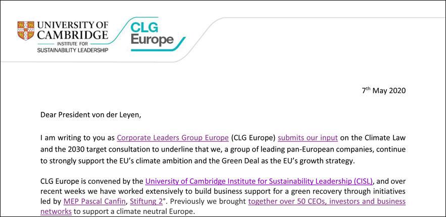 CLG Europe letter