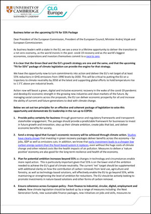 Business letter on the upcoming EU Fit for 55% Package