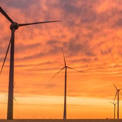 Wind turbines sunset 883