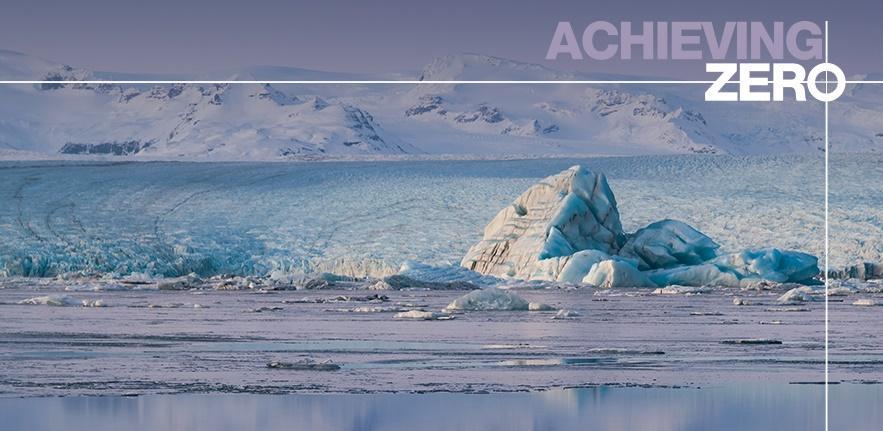 Image of icebergs with #AchievingZero text