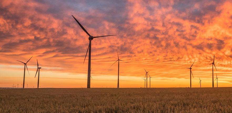 Wind turbines sunset 883